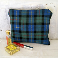 Handmade Recycled Blue & Green Kilt Pouch