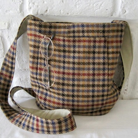 Handmade Recycled Tweed Messenger Bag