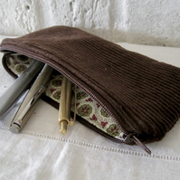 Handmade Recycled Brown Corduroy Pouch