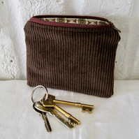 Handmade Recycled Dark Brown Square Corduroy Pouch