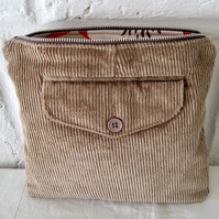 Handmade Recycled Sand Corduroy Pocket Pouch