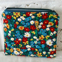 Handmade Recycled Bright Flowers Needlecord Pouch