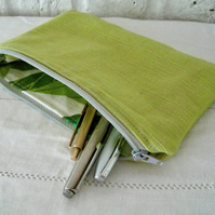 Handmade Recycled Lime Green Pouch