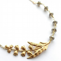 Brass lily of the valley necklace with czech glass beads