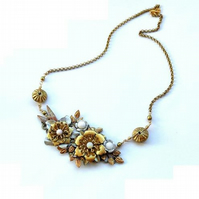 Vintage flower cluster necklace