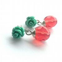 Green rose earrings