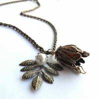 Vintage bronze tulip bud necklace