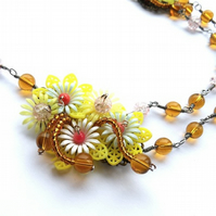 Vintage lemon flower necklace.