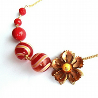 Vintage copper flower & red bead necklace
