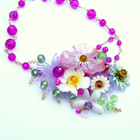 Necklace pink and purple vintage flowers