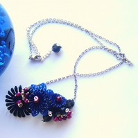 Necklace  vintage navy blue flowers