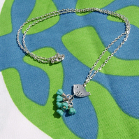 Necklace Little bird on turquoise flowers