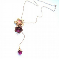 Lariat necklace brass flowers with pink beads