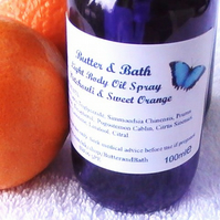 Patchouli and Orange Body Oil Spray with Essential Oils 100ml 3.5floz