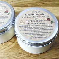 Body Butter Whip with Pure Jasmine & Rose 100ml Natural Body Lotion, Shea Butter