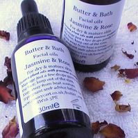 Facial Oil, Pure Organic Argan Oil with Jasmine and Sandalwood Essential Oils
