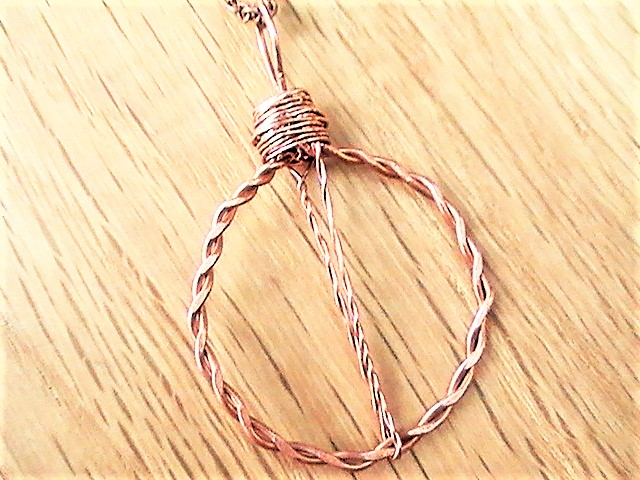 Copper Necklace, Circle Pendant, Handmade Copper Wire Pendant with Chain