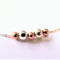 Dainty Silver Necklace,, Short, Fine Chain with Silver and Copper Beads