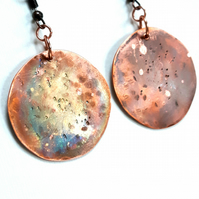 Copper Planet Earrings, Rustic Celestial Jewellery, Copper Anniversary Gift