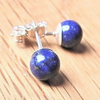 Lapis Lazuli Earrings, Deep Blue Studs with Sterling Silver Posts