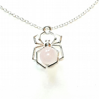 Spider Necklace, Sterling Silver with Rose Quartz Gemstone, Valentine's Gift