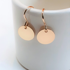 Tiny Gold Earrings, Gold Filled Small Disc Minimalist Drop Earrings