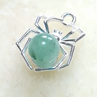 Halloween Necklace, Sterling Silver Spider Pendant and Green Aventurine Gemstone