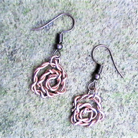 Rose Earrings, Handmade Wirework Drop Earrings, Rustic Copper Flower Jewellery,