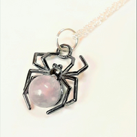 Rose Quartz Spider Necklace, Sterling Silver with Black Rhodium