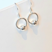 Small Hoop Earrings, Sterling Silver with Single Silver Bead