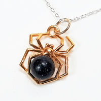 Gold Spider Necklace, Blue Goldstone, 24ct Gold Plated Sterling Silver Pendant