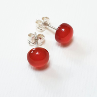 Carnelian Studs, Small Red Semi Precious Stone Earrings with Sterling Silver