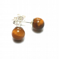 Tiger's Eye Sterling Silver Stud Earrings, 6mm Round Semi Precious Ear Studs