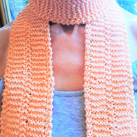 Knitted Organic Cotton Scarf, Naturally Dyed Peach Collour