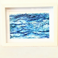 "Sea Painting, Framed 9 x 7"" Abstract Watercolour Original Blue Wave Art"