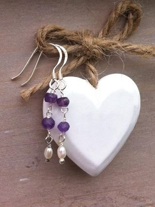 Amethyst and Pearl Sterling Silver Earrings
