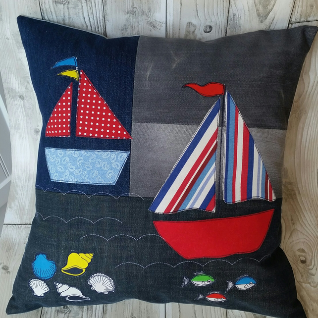 Recycled Denim Cushion, Appliqued Cushion