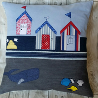 Denim Cushion, Beach Hut Cushion, Applique Cushion
