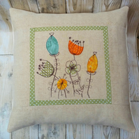 Applique Embroidered Linen Cushion