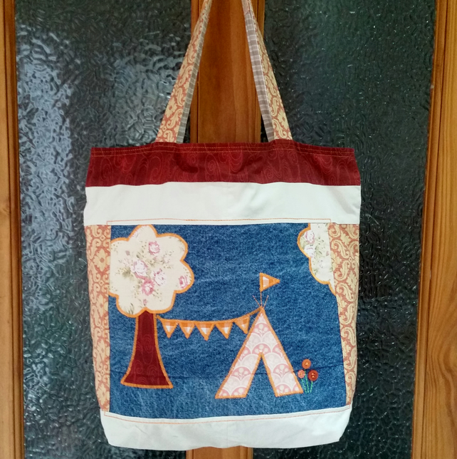 Upcycled Textile Bag, Recycled Festival Tote, Ideal Gift