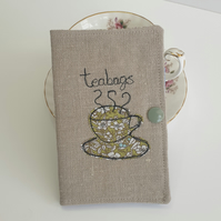 Teabag Wallet, Linen Wallet, Travel Wallet