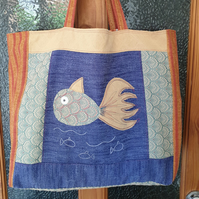 Upcycled Market Tote, Beach Bag, Large Shopper