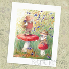 Shrew and Vole picking bilberries - signed print
