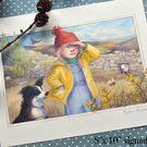 Bo Peep and her hiding sheep - signed print