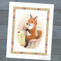 Little Fox Loves Berries - signed print