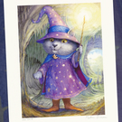 Purlin the Grey - wizard cat - signed print
