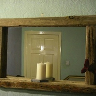 Driftwood mirror with shelf
