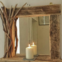 Rustic reclaimed wooden mirror with shelf and decorated frame