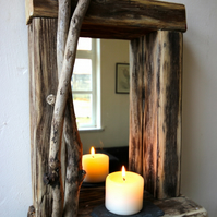 Driftwood candle mirror