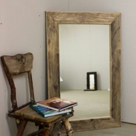 Very large rustic distressed farmhouse wide frame wooden reclaimed mirror